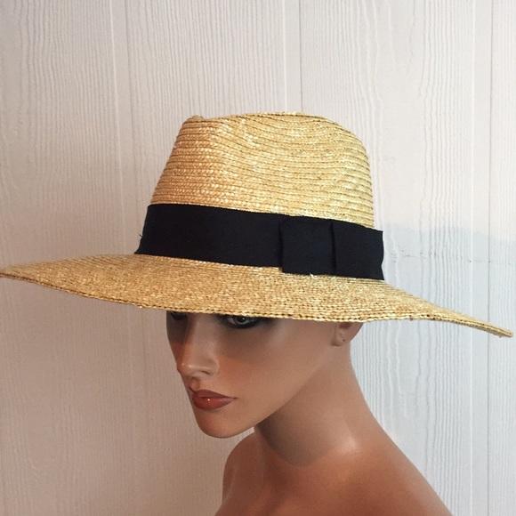 2611f81163448 Brixton Accessories - Brixton Straw wide brim hat black ribbon trim